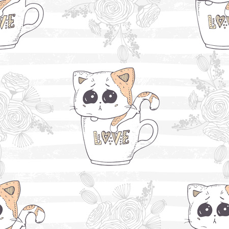 Cute hand drawn kitten in a cup with love letters seamless pattern. Romantic floral background vector illustration. Ilustração