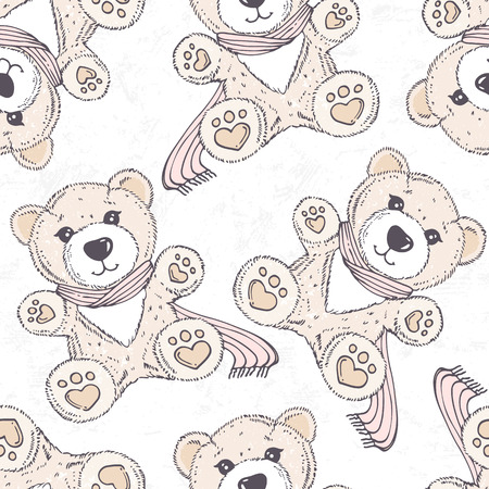 Seamless pattern with hand drawn bear. Cartoon background Ilustração