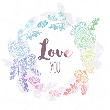 ホログラムスタイルと虹色の手描きの花輪。バレンタインデーテンプレートの背景