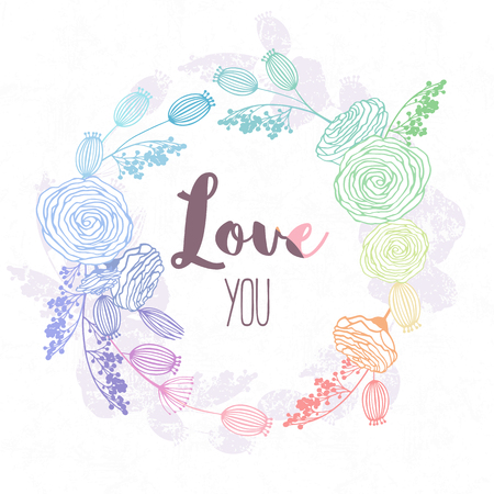 Hand drawn floral wreath in hologram style and rainbow colors. Valentines day template background