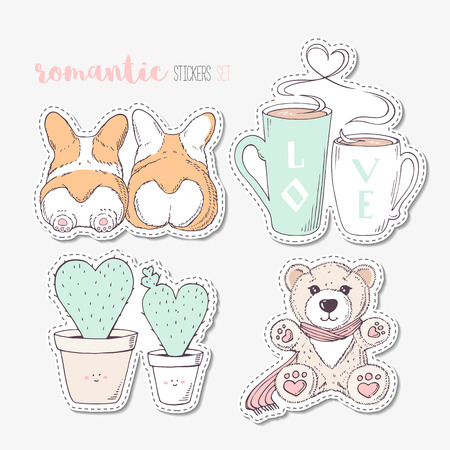 Hand drawn steackers with dogs, cactuses, cups and teddy bear. Cartoon patches Ilustração