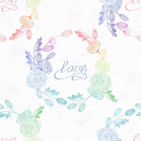ホログラムスタイルと虹色の手描きの花シームレスパターン。バレンタインデーの背景。手書きのラブレタリング