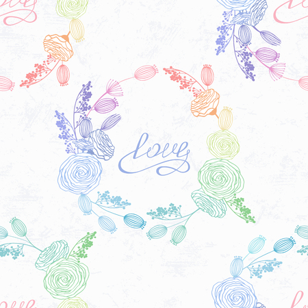 Hand drawn floral seamless pattern in hologram style and rainbow colors. Valentines day background. Handwritten love lettering