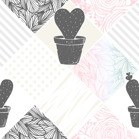floral patchwork seamless pattern with cactus. Abstract modern background
