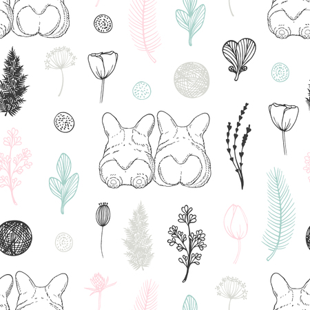 Pastel seamless pattern with hand drawn dogs and flowers. Cute doodle background