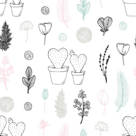 手描きのサボテンと花のパステルシームレスなパターン。かわいい落書きの背景  イラスト・ベクター素材