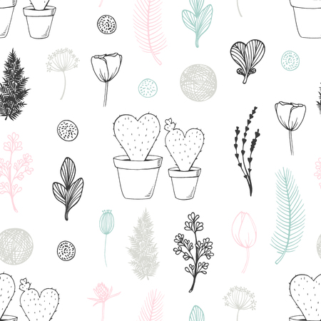 Pastel seamless pattern with hand drawn cactuses and flowers. Cute doodle background Ilustração