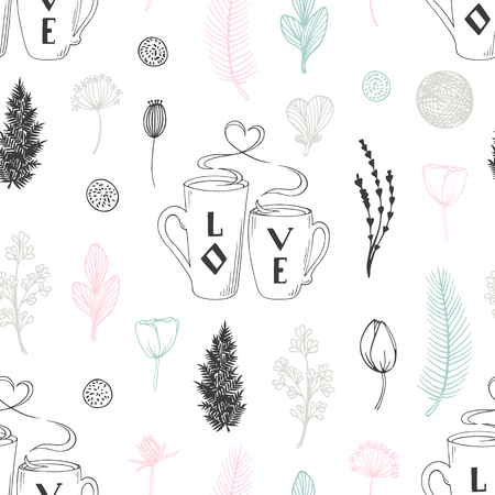 手描きの2つのカップと花でパステルシームレスなパターン。かわいい落書きの背景。ベクトルイラスト