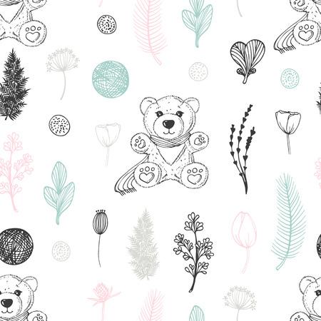 手描きのテディベアと花とパステルシームレスなパターン。かわいい落書きの背景。ベクトルイラスト  イラスト・ベクター素材