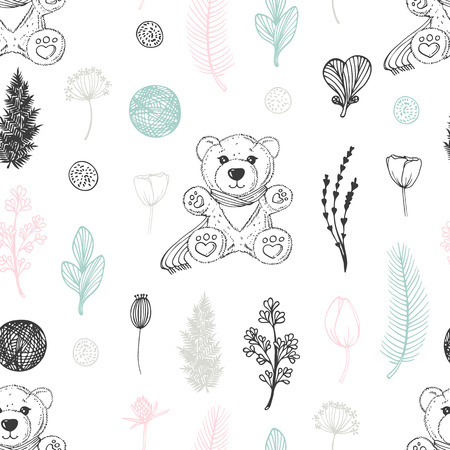 Pastel seamless pattern with hand drawn teddy bear and flowers. Cute doodle background. Vector illustration