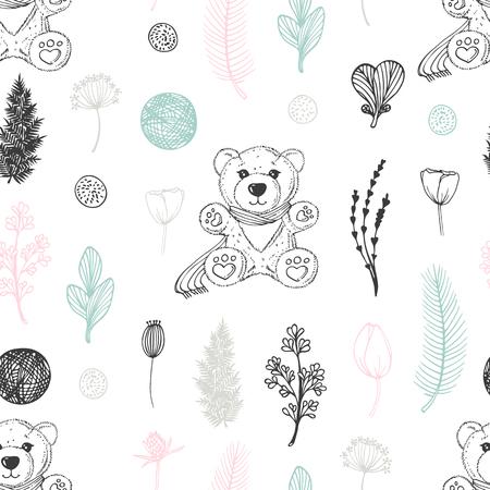 手描きのテディベアと花とパステルシームレスなパターン。かわいい落書き背景ベクトルイラスト  イラスト・ベクター素材