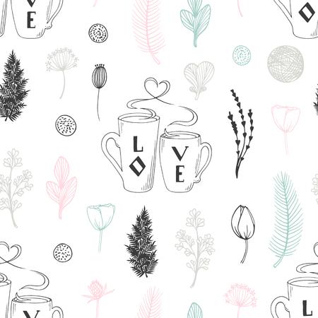 手描きの2つのカップと花でパステルシームレスなパターン。かわいい落書き背景ベクトルイラスト