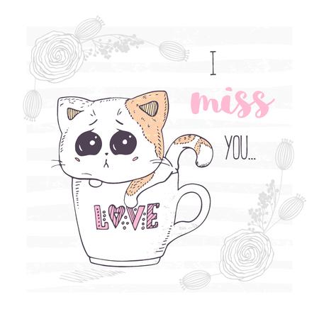 かわいいと悲しい手は、ラブレターとカップに子猫を描きました。花飾りベクトルイラスト付きバレンタインデーグリーティングカード。
