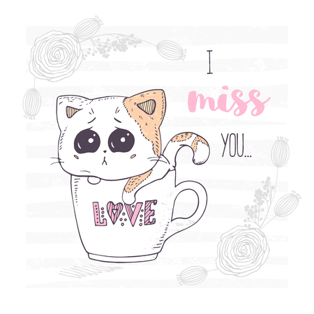 Cute and sad hand drawn kitten in a cup with love letters. Valentines day greeting card with floral ornament Vector illustration.