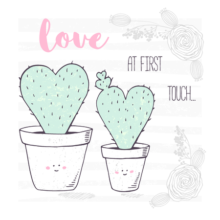 Hand drawn heart shaped family of cactus with a baby. Valentines day greeting card with floral ornament Vector illustration