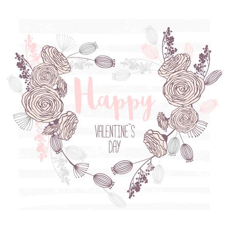 バレンタインデーハンド描きグリーティングカード。ハート型の花柄。テキストベクトルイラストレーションの場所を持つテンプレートの背景  イラスト・ベクター素材