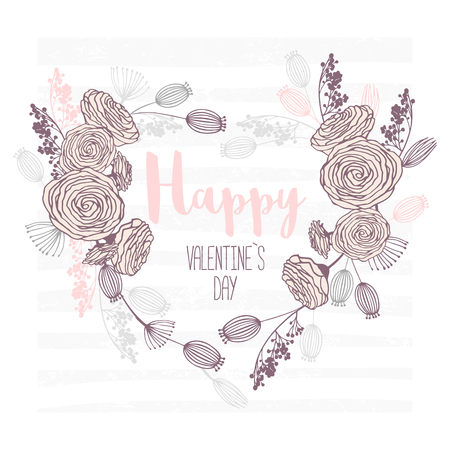 Valentines day hand drawn greeting card. Heart shape floral frame. Template background with place for text Vector illustration Çizim
