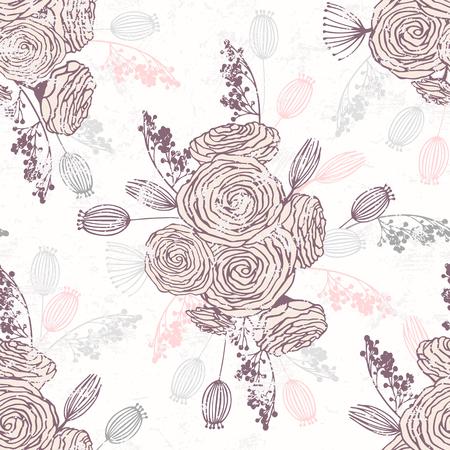 ロマンチックな手は花とシームレスなパターンを描きました。花の春の花束と背景ベクトルイラスト