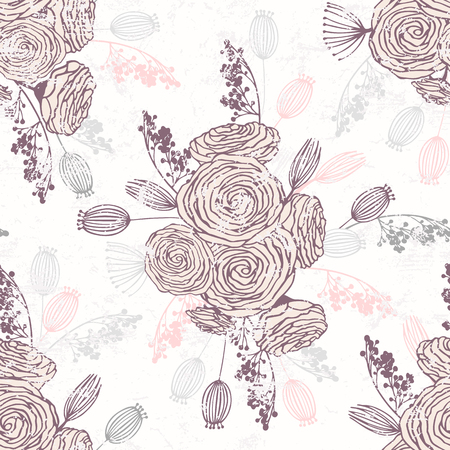 Romantic hand drawn seamless pattern with flowers. Background with floral spring bouquets Vector illustration
