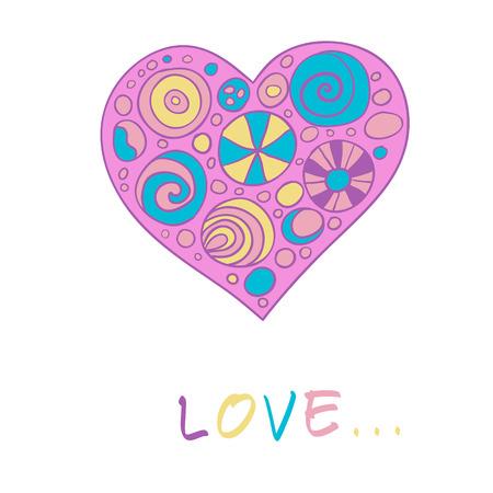 Bright multi-colored heart in the child style Vector