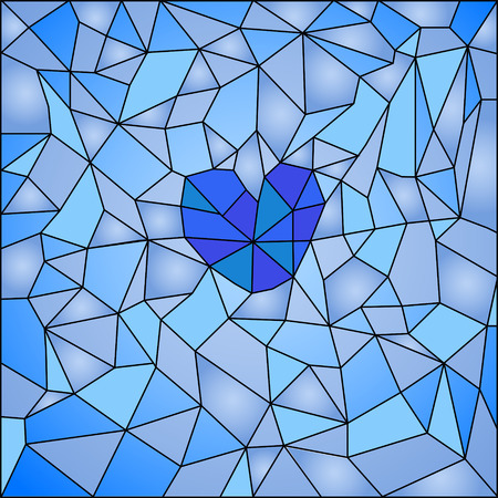 windows 8: Abstract background in the form of stained glass in blue shades with a heart in the center.