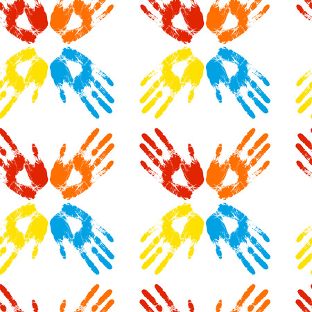 handprints: Seamless pattern of colored handprints on a white background