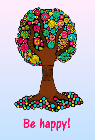 colorful tree: Bright colorful tree of happiness for design and decoration printing or web
