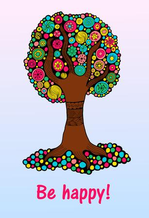 Árbol colorido brillante de la felicidad para el diseño y la impresión de la decoración o en la web