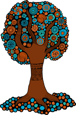 Tree blue and orange colors for design, printing and web. Vector eps 10 Vector