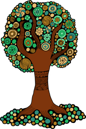 Tree green and brown colors for design, printing and web.  Vector