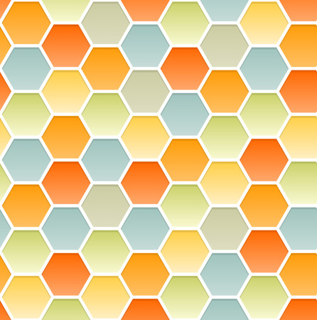 Vector seamless pattern of hexagons similar to a honeycomb. Infinite ornament pastel colours. Warm and pleasant summer background. Vector Vector