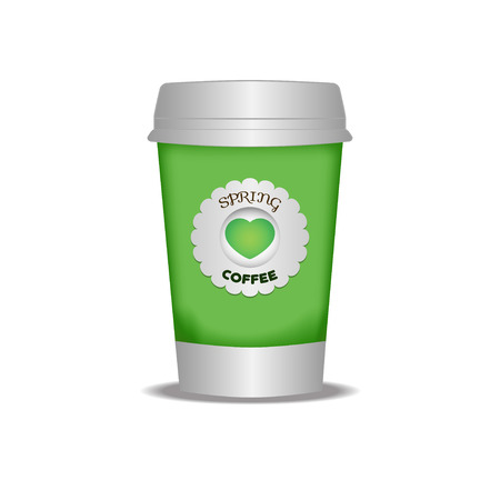 go green logo: Cup of coffee to go. The template for printing the logo or picture. Spring bright green glass.