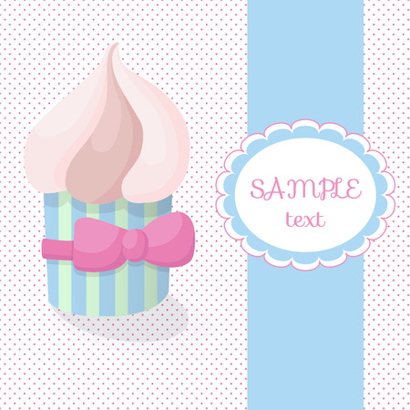 pink bow: Greeting card with cake on a background of polka dots. Delicious cake with butter cream in gentle pastel colours. Cake gift with a pink bow.