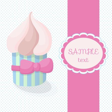 mo�o rosa: Tarjeta de felicitaci�n con la torta en un fondo de lunares. Delicioso pastel con crema de mantequilla en colores pastel suaves. Regalo de la torta con un lazo rosa.