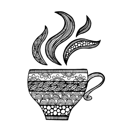 manually: The Cup was drawn manually by the liner.Hand-drawn illustration. Mug in the zendoodle style. Picture for printing or WEB. Illustration