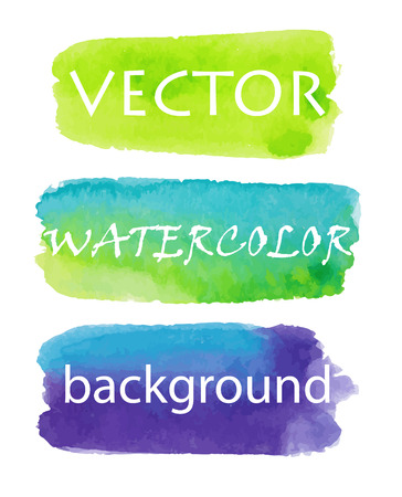 watercolor brush: Set of watercolor backgrounds green, blue, purple. Backgrounds for buttons, labels, accents. Stripes  painted by hand in watercolor. 3 vector design elements on a white background. Eps10.
