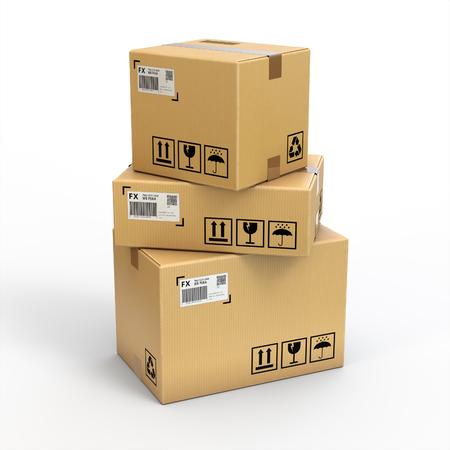 Cajas de carga sobre fondo blanco, aislado en blanco