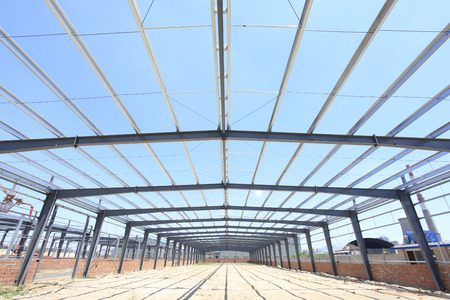 steelwork: The steel structure under the blue sky white clouds