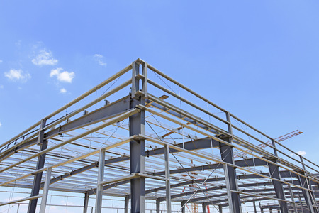 steel plant: The steel structure under the blue sky white clouds