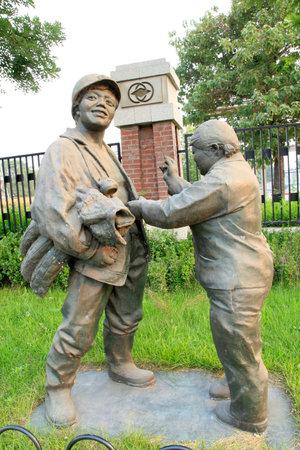 mineros: En el parque, la escultura mineros vida