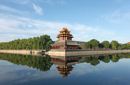 watchtower: The imperial palace embrasured watchtower,Beijing China  Watchtower in the Forbidden city Editorial