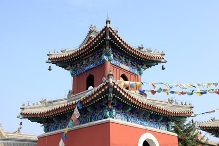 Chinese temples drum tower, under the blue sky white clouds, very grand photo
