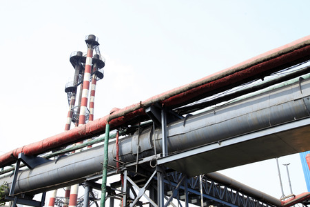 steel works: Steel works equipment, pipes, valves? Stock Photo