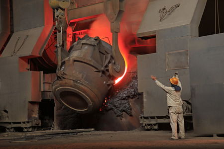 Steelmaking workshop?Steel workers are working, sparks fly, very beautiful
