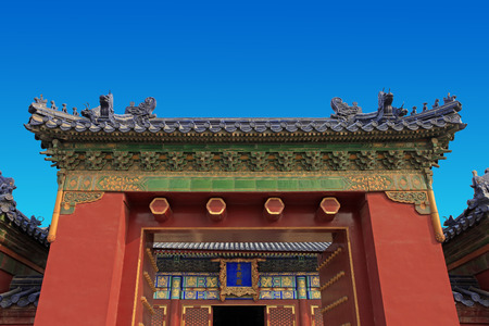 Emperor temple hall is a hip roof type, dry covering blue glazed tile, there are white marble stone balustrade base.