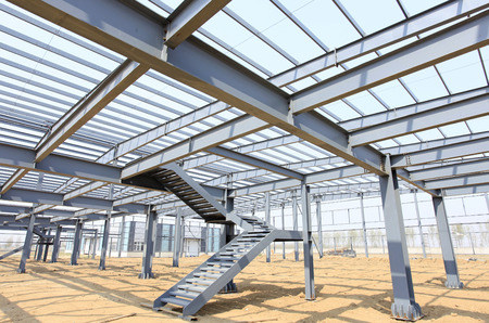 szerkezet: Az acélszerkezet, építés alatt