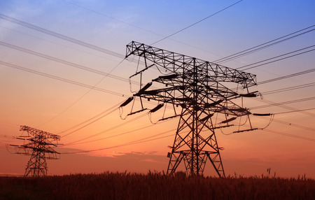 transformator: The evening of the pylon outline, is very beautiful Stock Photo