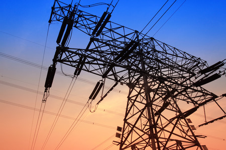 power equipment: The evening of the pylon outline, is very beautiful Stock Photo
