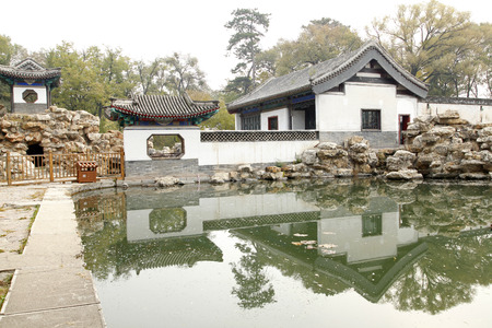 Chinese classical garden, there is a pavilion and ponds, is very beautiful