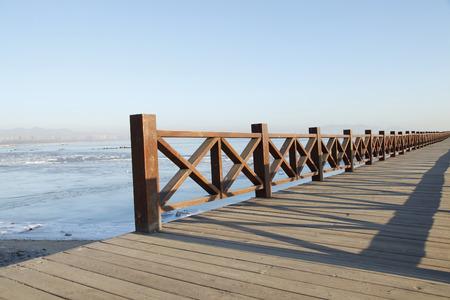 Winter seaside wharf, the scenery is very beautiful